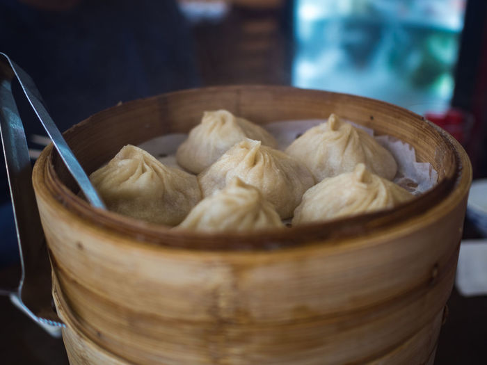 Close-up of dumplings in container