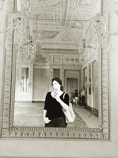 Through the looking glass.. Historical Sights Being A Tourist Taking Photos Mirror Mirrorselfie Potrait Woman Blackandwhite People Monochromeart