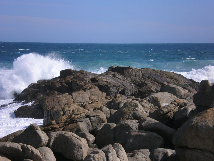 Isla Negra Beach Beauty In Nature Clear Sky Day Horizon Over Water Nature Neruda No People Outdoors Pebble Beach Rock - Object Scenics Sea Sky Tranquil Scene Water Wave