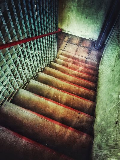 steps to hell Spooky Spooky Atmosphere No Edit No Fun Empty Empty Places Nobody Building Structures Building Feature Stairway Staircase Steps And Staircases Metal Grate Hand Rail Stairs Steps Railing Bannister Fire Escape