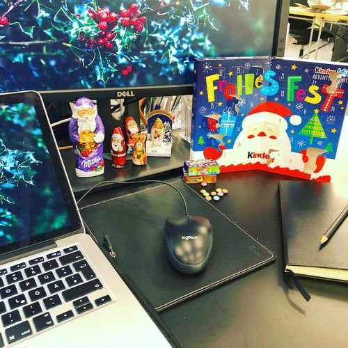 Christmas Decoration Office Agency High Angle View Drink Wireless Technology Desk Keyboard