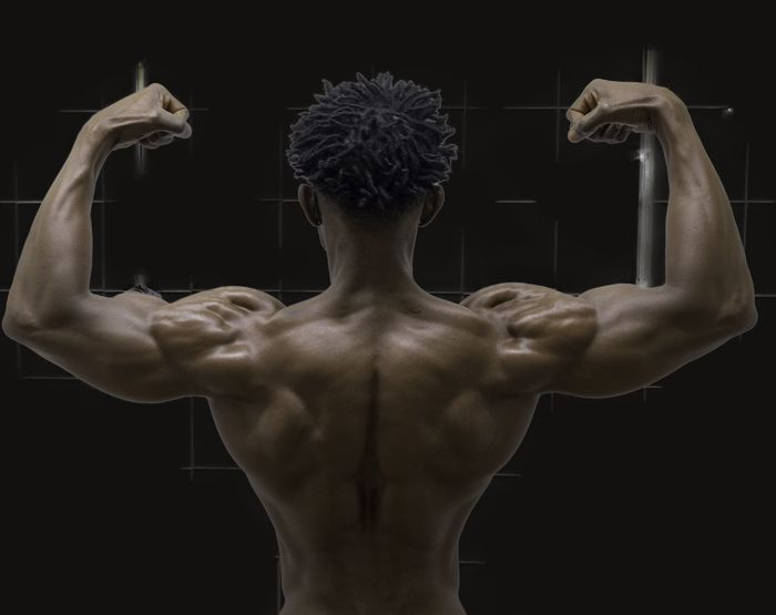 BodyBuilder Bodybuildingmotivation Rear View Muscular Build Flexing Muscles Human Back Back Human Muscle Shirtless Human Body Part Exercising Waist Up Lifestyles Black Background Shoulder The Human Body Strength Human Arm Adult One Man Only Healthy Lifestyle People EyeEmNewHere