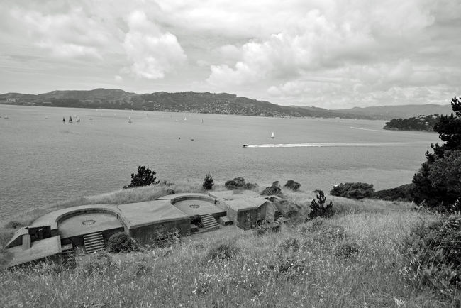 Angel Island Artillery Batteries 2 Battery Ledyard Point Knox 1900 Named For 1st Lt. August C. Ledyard 6th U.S. Infantry Endicott Batteries 2 Five-inch Rapid-fire Guns Bay View Bnw_friday_eyeemchallenge San Francisco Bay Marin Headlands Sailboats Speedboat Wake Cloudy Day Clouds Landscape Landscape_Collection Landscape_photography Black & White Black And White Collection  Black And White Black And White Photography