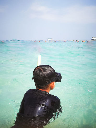 Pulau Redang, Terengganu. Water Sea Rear View One Person Real People Lifestyles Leisure Activity Sky Headshot Nature Men Beauty In Nature Day Portrait Scenics - Nature Vacations Land Beach Outdoors Turquoise Colored