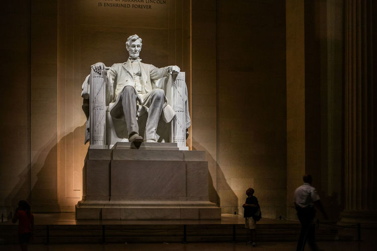 Low angle view of abraham lincoln statue