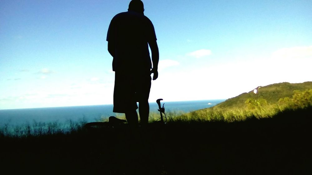 Rear View One Man Only Nature Biker Life Sky Silhouette Sea Men Biker Bike Nature Horizon Over Water Beauty In Nature