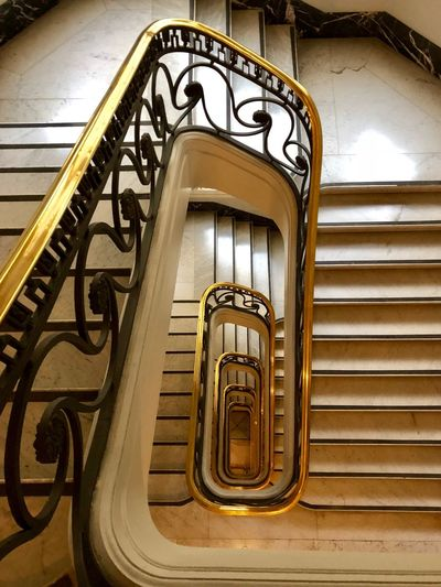 Up & Down Staircase Steps And Staircases Architecture Railing Spiral Built Structure Indoors  No People Low Angle View Spiral Staircase Pattern Metal Day Building Design Ornate Direction The Way Forward Wrought Iron Ceiling