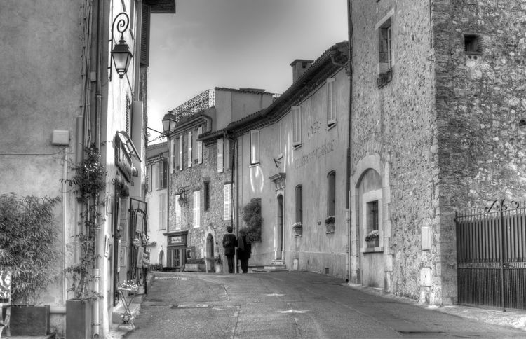 France People Walking  French Old Town Mougins Black And White