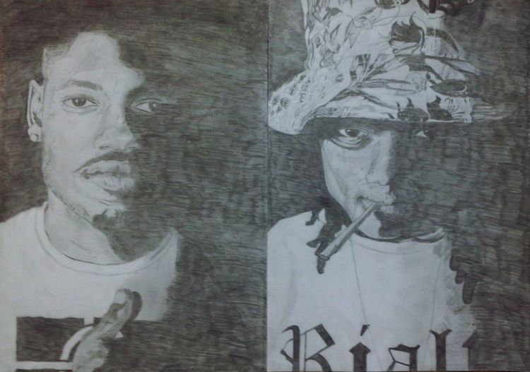 Audio Push Draw Faces Hazeherty Art Pencil Drawing HipHop Rappers American HS87 Bow