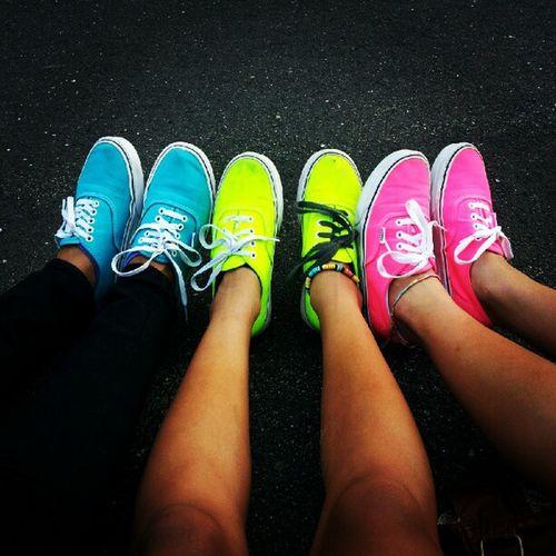 Vans :) Vans_are_cool Vans Neon Blue yellow pink tan legs anklet friend sister @lexflp @alexagarrido25