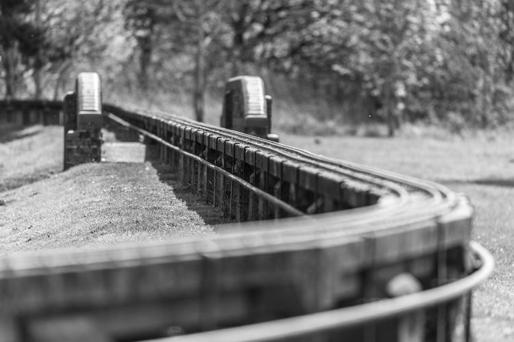 The rack railway in the park Black And White Close-up Day Diminishing Perspective Empty Focus On Foreground Grass Metallic Nature No People Outdoors Rack Railway Selective Focus Surface Level Travel Destinations
