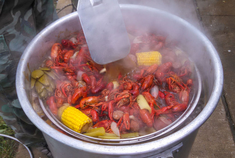 May 2015 - Crawfish Boil  Memorial Day Activities Close-up Container Day Food Food And Drink Freshness Healthy Eating High Angle View Kitchen Utensil Meat No People Outdoors Preparation  Regional Southern Food Steam