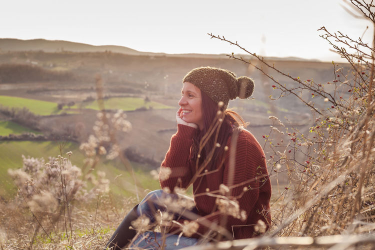 Profile View Profile Portrait Portrait Of A Woman Autumn Warm Clothing Nature Beauty In Nature Sunny Sunny Day Horizon Over Land Countryside Serbia Smiling Thinking Exploring Real People People Woman Women Field Outside Sitting Sitting Outside Sitting Alone Beautiful Copy Space