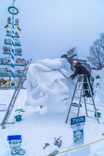 Sapporo Snow Festival Feb 2018 - Medusa Japan Japan Photography Japanese  Medusa Sapporo,Hokkaido,Japan Snow ❄ Architecture Art And Craft Building Exterior Built Structure Cold Temperature Craft Creativity Day Human Representation Male Likeness Nature No People Representation Sapporo Sculpture Sky Snow Snow Covered Snowing Statue White Color Winter