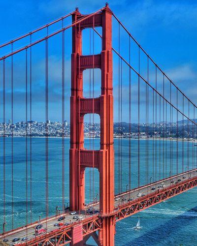 Golden Gate Bridge EyeEm Selects City Water Cityscape Suspension Bridge Bridge - Man Made Structure Red River Metal Sky Architecture Cable-stayed Bridge Steel Cable Bay Of Water Horizon Over Water San Francisco Ocean Calm Seascape Shore Chain Bridge Engineering Bridge