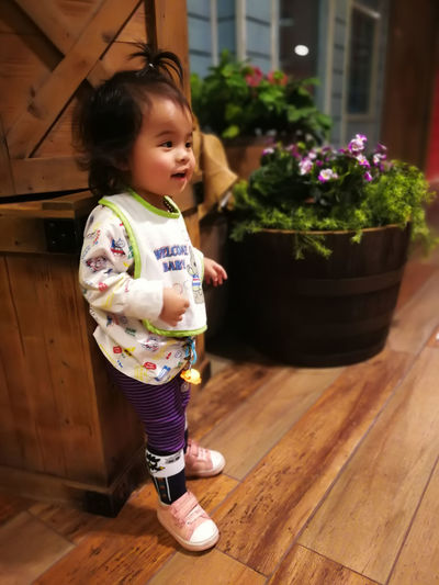 Full length of cute baby girl standing on hardwood floor