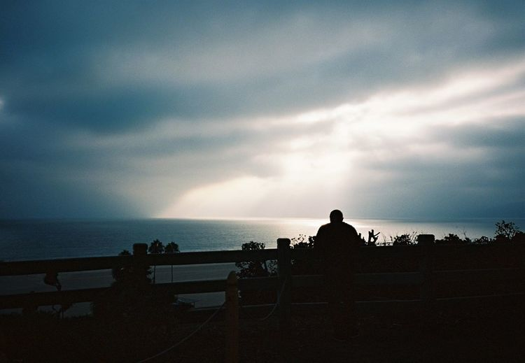 Silhouette of people looking at sea