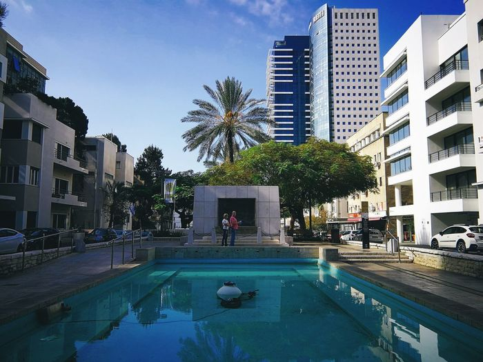Rothschild Boulevard Rothschild Boulevard Tel Aviv Israel Modern Sunshine Travel Middle East City Tree Water Swimming Pool Swimming Palm Tree Skyscraper Luxury Wealth Architecture Office Building Settlement Cityscape