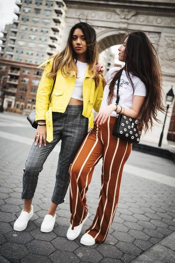 Fashion Photography NYC Style Fashion Young Adult Two People Full Length Friendship Only Women Togetherness Long Hair People Casual Clothing Young Women Adult City Life City Adults Only Day Outdoors Women Standing Beautiful People Bonding