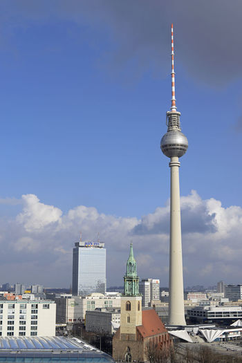 Berlin, cityscape Berlin Fernsehturm Berlin  Panorama Aerial View Architecture Building Exterior Built Structure Capital City Cityscape Communication Day Germany Marienkirche Berlin-mitte Outdoors Parkinnhotel Sky Television Tower Television Tower Berlin Tower Travel Travel Destinations