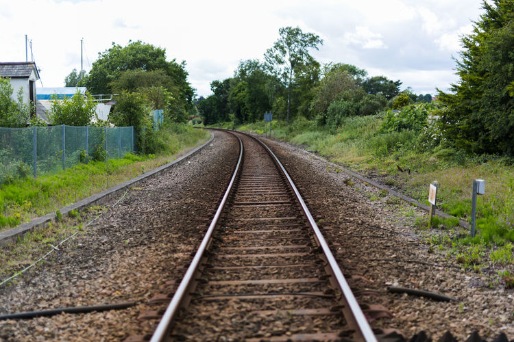 Railroad tracks amidst trees on field against sky