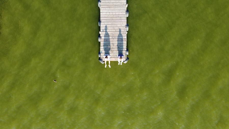 High angle view of ship on sea shore