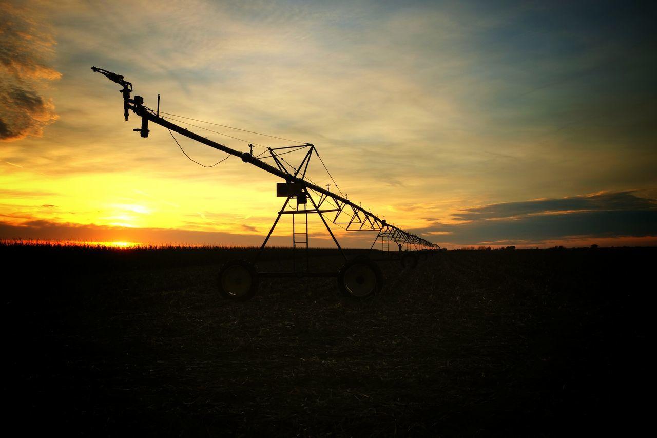 Sprinkler Irrigating Against Sunset
