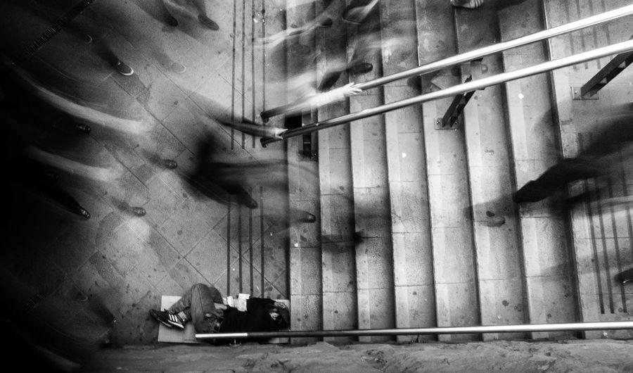 City Life Empty Estacion De Metro Illuminated Peoplewalking Santiago De Chile Sleepingonstreet Stairway Streetphotography Subway Station The Way Forward Vagabond Rest Sleeping Monochrome Photography Street Photography Snap a Stranger