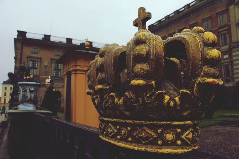 Statue Architecture Travel Destinations Sculpture History Building Exterior Outdoors No People Built Structure Day City King - Royal Person Sky Close-up Politics And Government Stockholm, Sweden Holiday Happiness Sweden Crown Winter Paint The Town Yellow