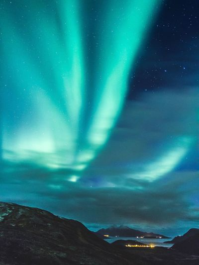 Take Me With You   Night Aurora Polaris Nature Sky Scenics Beauty In Nature Astronomy Star - Space Landscape Space Mountain Tranquility Outdoors Idyllic Travel Destinations No People Illuminated Awe Green Color Dramatic Sky Eye4photography  Norway EyeEm Gallery Nature Landscape_photography