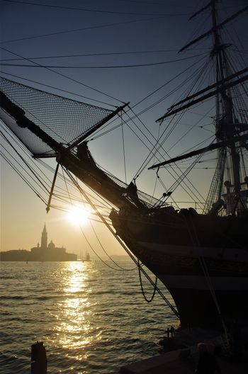 Amerigo Vespucci in the sunset.... Lost In The Landscape Marina Militare Italiana Pirates Travel Cable Day Mode Of Transport Nautical Vessel Outdoors Sailboat Sailing Sailing Ship Sea Silhouette Sky Sun Sunset Water