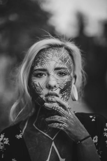 Humans after all Photojstudent Photojournalism News Documentary Photography Photojournalism Portrait Tattoo Blackandwhite Women Tattooed Portrait Halloween Looking At Camera Spooky Evil Senior Adult Blond Hair Close-up Horror Thoughtful Terrified Human Skull Domestic Violence Human Skeleton Pretty