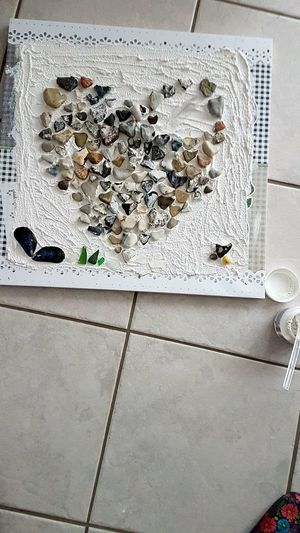 Nearly Ready...only The Silver Frame Is Missing Jet No People Day Indoors  Close-up Hearts Stone Material Stones Full Frame Laying On The Floor Indoors  Communication High Angle View Ich Freue Mich Love Is Love