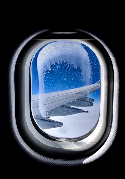 Window Cold Temperature Travel No People Air Vehicle Close-up Airplane Wing Airplane Window