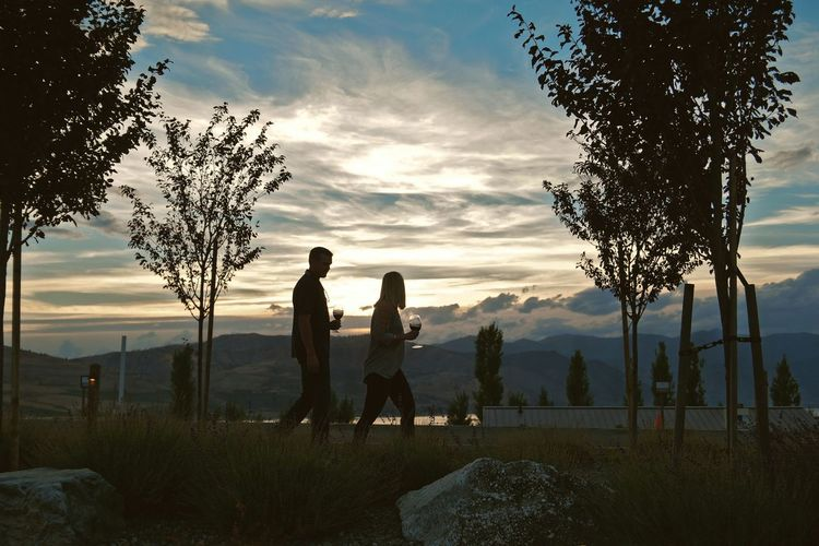 Couple holding wineglass walking on grassy field by mountains against sky during sunset