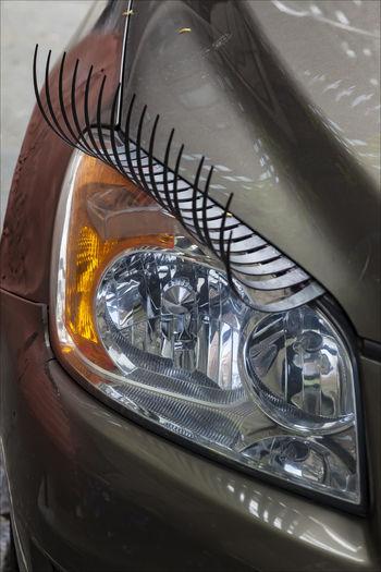 Car Headlight With Eyelashes Car Headlight With Eyelashes Humor Streetphotography