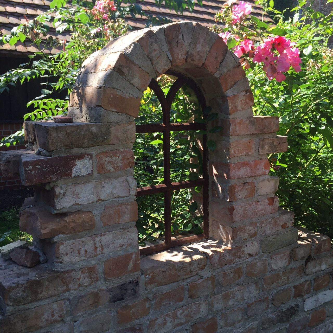architecture, arch, built structure, brick wall, day, plant, history, no people, growth, outdoors, flower, building exterior, nature
