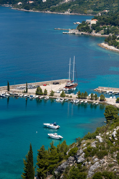 Croatia Croatian Coast Adriatic Adriatic Coast Adriatic Sea Architecture Beauty In Nature Blue Boat Built Structure Harbor High Angle View Mode Of Transport Moored Nautical Vessel Outdoors Sailboat Sailing Sea Sky Tranquility Transportation Water Yacht
