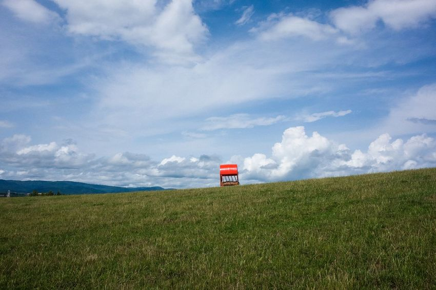 Nature Sky Landscape Blue Sunlight Red Day Field Outdoors Grass Plant Land Environment Beauty In Nature No People Green Color Cloud - Sky Scenics - Nature Tranquility Tranquil Scene Rural Scene Non-urban Scene Horizon