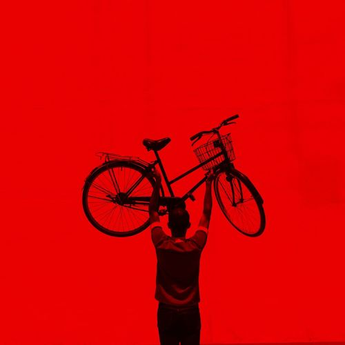 man with bicycle Art Photography The Reds Activity Adult Bicycle City Colored Background Copy Space Cycling Holding Human Arm Human Body Part Human Limb Men Mode Of Transportation One Person Red Red Background Silhouette Standing Studio Shot Three Quarter Length Transportation