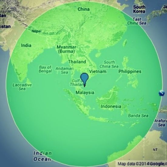 MH370 could be anywhere within this circle.