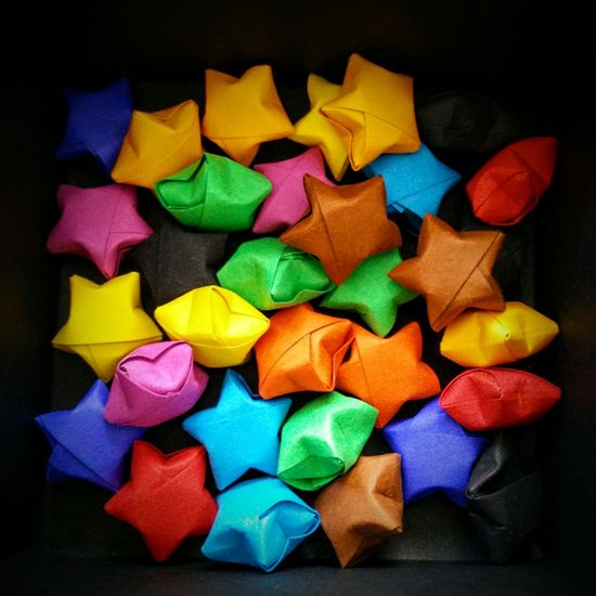 Close-up Colorful Happystars Hapy Luckystar Luckystars Origami Origamiart Origamistars Smile Stars In A Box