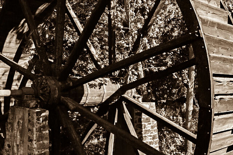 The Water Mill Watermill Watermills Old Cirlce Sepia Sepia Photography Still Life StillLifePhotography Rustic Rustic Beauty Branch Tree Trunk Growth Day Outdoors No People Countryside Countrylife Country Living Spokes Hub