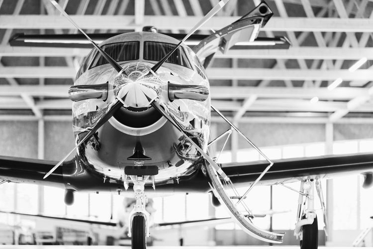 Airplane in shed