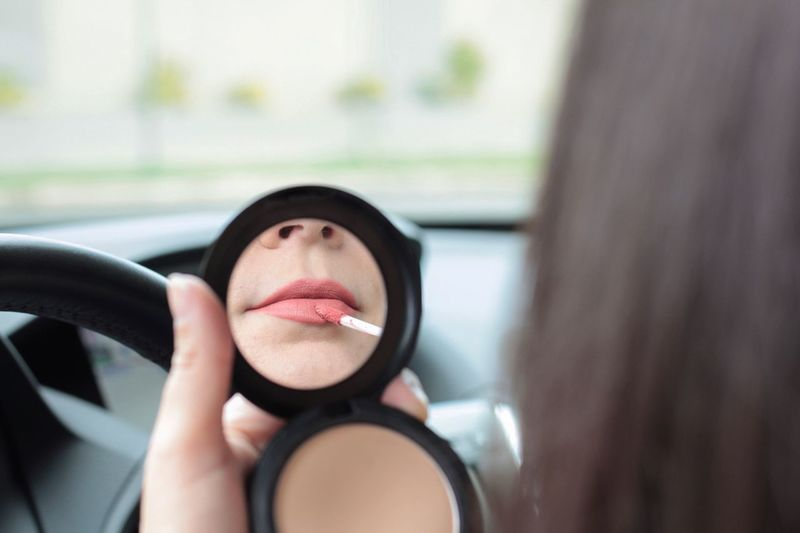 Point Of View Reflection Makeup Beauty Driving Portrait Women Headshot Make-up One Person Young Adult Lipstick Mirror Lifestyles A New Perspective On Life