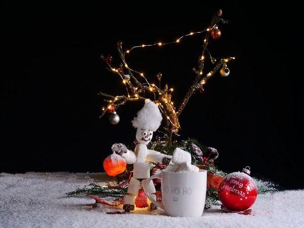 ArtWork Merry Christmas! Black Background Celebration Childhood Christmas Christmas Decoration Christmas Ornaments Christmas Tree Close-up Day Diorama Freshness Illuminated Indoors  Marshmellow Man Marshmellows  No People Snow Studio Shot Table