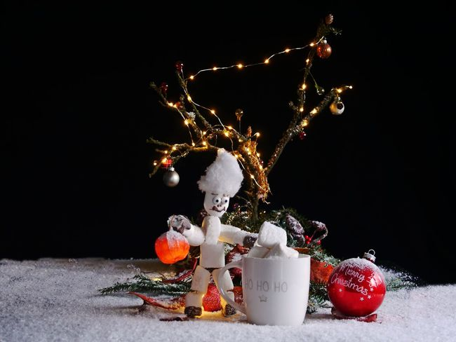 ArtWork Merry Christmas! Black Background Celebration Childhood Christmas Christmas Decoration Christmas Ornaments Christmas Tree Close-up Day Diorama Freshness Illuminated Indoors  Marshmellow Man Marshmellows  No People Snow Studio Shot Table