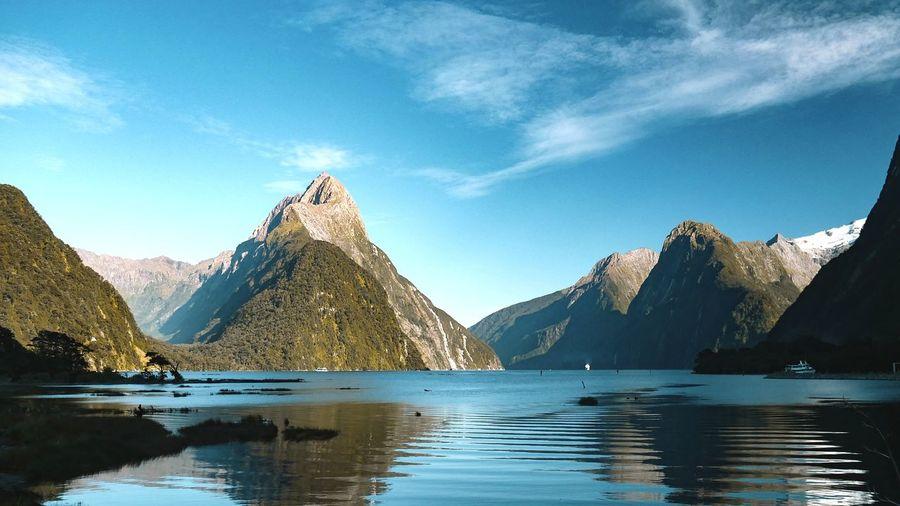 8th Wonder Milford Sound Wonder Landscape Landscape_Collection New Zealand NZ Newzealand Mountain Fjord Water Mountain Blue Reflection Sky Mountain Range Landscape Travel Rocky Mountains Postcard