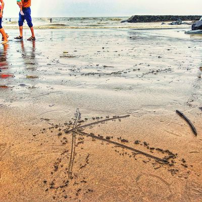 Low Section Water Beach Sand Sea Human Leg FootPrint Sky Close-up
