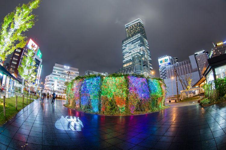雨のてんしば Tenshiba OSAKA Japan Nightphotography Rainy Days Rainy Night Reflection Abeno Tennouji City Cityscape Illuminated Modern Skyscraper Urban Skyline Neon Nightlife City Life Multi Colored